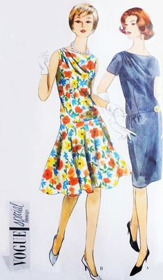Early 60s Beautiful Dress Pattern Vogue 4241 Slim or Circular Skirt Lovely Draped Shoulder Bateau Neck Daytime or Evening Dress Bust 32 Vintage Sewing Pattern