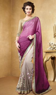 Experience the richness and beauty of traditional Indian in this purple and gray color georgette half n half sari. Contrast border elevates the beauty. Beautified with lace and resham work. #floralworsaree #georgettesaris #latestfancysarees