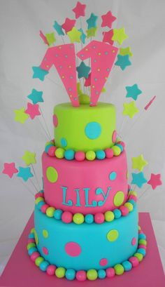 Lily's Cake - 4, 6 and 8 inch cakes. Covered in fondant.  Stars and balls.
