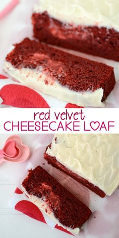 Red Velvet Cheesecake Loaf - two loaves of red velvet cake and cheesecake all in one, with cream cheese frosting.
