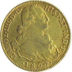 Moneda de oro 8 escudos Carlos IV 1804 Nuevo Reino JJ.