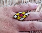 Items similar to Romb Ring, White Yellow and Red Seed Beads Ring, Venitian Carnival, Statement, Beaded Ring, Made in USA on Etsy
