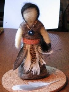 I made a needle-felted doll of Karana and her Skirt of Feathers, to accompany the book Island of the Blue Dolphins, which the fourth grade Waldorf class is now reading..