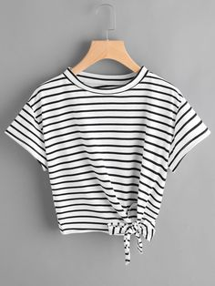 Striped Side Knotted Tee Mobile Site