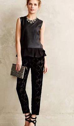 Anthropologie Harlyn Black Silk & Velvet  Pants SZ 4,6,8,10,14  NWTS! $148 #Harlyn #DressPants