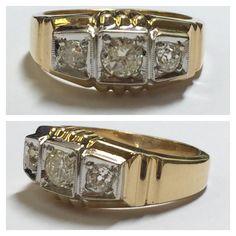 vintage wedding ring with old european cut diamonds