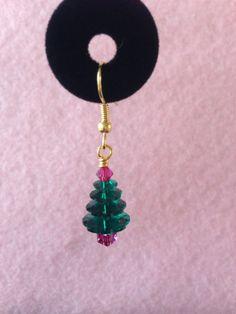 Swarovski Crystal Christmas Tree Earrings - Nickel Free Surgical Stainless Steel