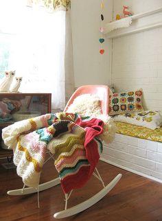 lovely lovely all over (dottie angel) Eames Rocker, Dottie Angel, Granny Chic, Manta Crochet, Nursery Inspiration, Nursery Ideas, Cozy Corner, Sewing Studio, Love Crochet