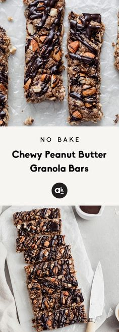 No bake peanut butter granola bars packed with wholesome ingredients like chia seeds, flax, almonds, and dark chocolate. These chewy granola bars will be your new favorite grab-and-go snack! Granola Bars Peanut Butter, Chewy Granola Bars, Pollo Caprese, Cookie Recipes, Snack Recipes, Healthy Recipes, Natural Peanut Butter, Breakfast Bars, Roasted Almonds