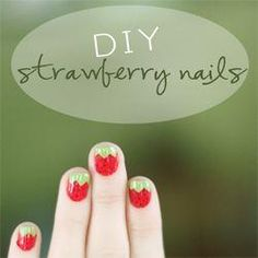 Sweet strawberry nail art DIY #nails #nailart #manicure