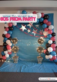 How to decorate for 80s Prom Party - love this photo area!