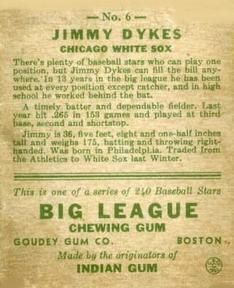 1933 Goudey #6b Jimmie Dykes Back