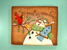 Snowman n Cardinal Singing Hand Painted Wooden by CarolynPaints4U