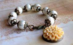 Pearl and Vintaj Brass Bracelet  Resin Flower by JustBeCreative, $26.00