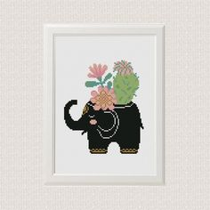 Log in to your Etsy account. Cactus Cross Stitch, Simple Cross Stitch, Cactus Design, Elephant Silhouette, Easy Cross, Modern Cross Stitch Patterns, Cactus Flower, Hand Embroidery, Bears