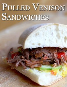 The pulled BBQ sandwich are great with a slice of cheese and a spoonful of coleslaw, try it! Venison Recipes, Slow Cooker Recipes, Crockpot Recipes, Healthy Recipes, Venison Meals, Cooking Venison, How To Cook Venison, Venison Roast, Dairy Free Recipes