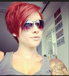 Not a fan of the red, but maybe one day I'll be brave enough to go this short. Love the cut.