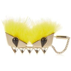 Fendi Bag Bugs fox-fur brooch ($450) ❤ liked on Polyvore featuring jewelry, brooches, black and white jewelry, fendi jewelry, fendi and yellow jewelry