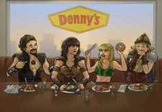 Isn't this funny? :-D Ares, Xena, Gabrielle and Joxer at Denny's.