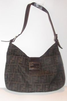 1da712c03 Hobo Style Tobacco Zucco Print Or Large F Logo Print Canvas and Brown  Leather Shoulder Bag