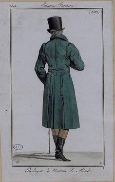Back view of lovely blue gentleman's coat, 1814 costume parisien