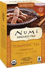 Numi Organic Tea Amber Sun   A smooth richness radiates through Amber Sun Turmeric Tea like a warm, healthy glow. Blended entirely with real organic ingredients, this herbal teasan combines turmeric, rooibos, vanilla beans and a hint of cinnamon, offering mellow apple notes with a sweet peppery zest. With this tea we are proud to enter into an exciting new Fair Trade program with our organic Turmeric partners in Madagascar. It is essential that we forge new relationships around the globe…