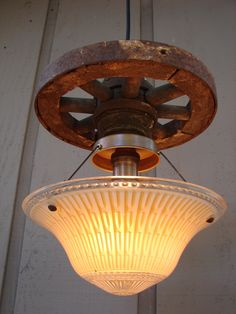 Upcycled Antique Wheel and Vintage Ceiling Fixture Combination Pendant Lighting