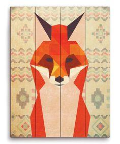 Loving this Geometric Fox Wall Art