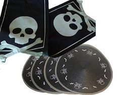 Halloween Skull & Crossbones Table Runner with Woven Round Placemats Midnight Market http://www.amazon.com/dp/B00NO60OPS/ref=cm_sw_r_pi_dp_h6ahub0XSGVRP