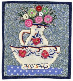 Sharon Blackman A possible idea for recycling embroidered linens into a patchwork picture. Sewing Appliques, Applique Patterns, Applique Quilts, Embroidery Applique, Machine Embroidery, Small Quilts, Mini Quilts, Textiles, Fabric Cards