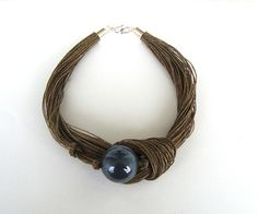 Ceramic and linen necklace / gray necklace / knotted by dekkoline, $28.00