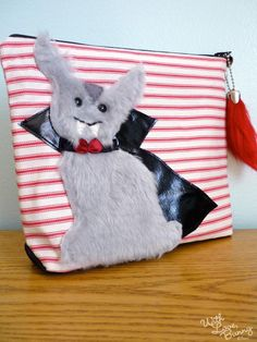 Bunny Pouch  Vampire Bunnicula  Halloween  by withlovebunny, $45.00
