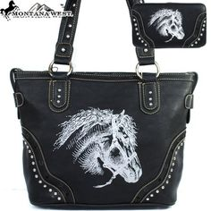 Montana West Cow Girl Horse Pint Handbag in Black « Clothing Impulse.   I gotta have this!!!