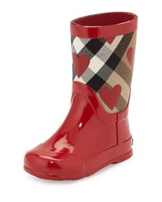 """Rubber rain boot by Burberry. Signature check canvas shaft with heart print. Logo at heel cap. """"Ranmoor"""" is imported. Toddler Rain Boots, Girls Rain Boots, Baby Girl Shoes, Girls Shoes, Storing Baby Clothes, Designer Baby Clothes, Pink Flats, Baby Girl Fashion, Fashion Kids"""
