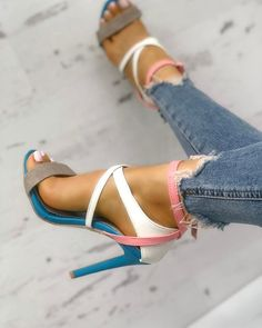 Multicolor Strappy Cut Out High Heel Sandals Summer Women Open Toe Stiletto Heels Sandals Suede Dress Party Shoes Free Ship Hot Shoes, Crazy Shoes, Me Too Shoes, Platform High Heels, Black High Heels, Zapatos Shoes, Shoes Heels, Heeled Sandals, Sandals Outfit