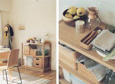 Case2 親子をもてなす   Coordination 01 ボックスを使った収納  キッチン用品や食器は、できるだけシンプルに美しくまとめたいもの。ユニットシェルフにボックスを組み合わせるだけで、食器棚に早変わり。模様替えもボックスのアレンジを変えるだけで簡単に。