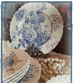 Vintage Blue and White China - I wanted to share my newest blue and white transferware with you girls. I found them yesterday at my local antiques shop. Blue And White China, Blue China, Love Blue, Blue Dishes, White Dishes, Design Vitrail, Vintage Dishes, Vintage China, Vintage Pyrex