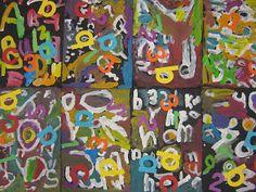 Art in the Big Green Room: Kindergarten Abstract Alphabet Painting (Stuart Davis) Kindergarten Art Lessons, Art Lessons Elementary, First Grade Art, Alphabet Art, Letter Art, Middle School Art, Preschool Art, Art Lesson Plans, Art Classroom
