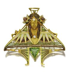 Art Nouveau Plique-a-Jour And Cloisonne Enamel, Peridot And Rose-Cut Diamond Brooch Mounted In 18k Gold, By L. Gautrait   c.1900   -   Sotheby's