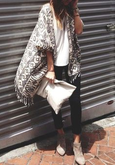 Kimono, clutch, and taupe suede booties for Fall.