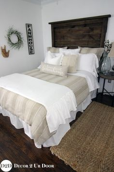 Love that fixer upper style? Neutral master bedroom and guest room bedding is timeless. This tan and white stripe duvet screams fixer upper style. Add your linen stripes, cable knit textures, and white frills + ruffles. Our neutral farmhouse home bedding Tan Bedding, Dorm Room Bedding, Bedding Master Bedroom, Home Bedroom, Bedroom Furniture, Bedroom Decor, Bed Room, Luxury Bedding, Bedroom Ideas
