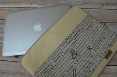 Laptop sleeve / 13 inch Zipper,cross body Messenger, Waterproof Natural Waxed Canvas French News Print with   by Darby Mack