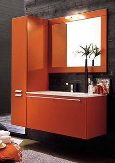 orange vanity- even has an orange mirror Bath Cabinets, Bathroom Vanity Cabinets, Bathroom Fixtures, Bathroom Furniture, Bathroom Storage, Orange Bathroom Accessories, Best Bathroom Vanities, Bathroom Ideas, Orange Bathrooms
