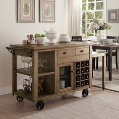 Nora Multi-Purpose Cart with Storage, Towel Bar, Adjustable Shelf - dealepic Natural Oak Flooring, Home Coffee Stations, Office Chair Without Wheels, Kitchen Cart, Kitchen Island, Kitchen Ideas, Kitchen Decor, Accent Furniture, Kitchen Furniture