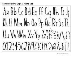 Tattered Skirts Digital Alpha Set from Creative Memories - #digitalscrapbooking