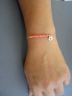 Set of 6 Coral bracelet Initial jewelry Pink color by Muse411