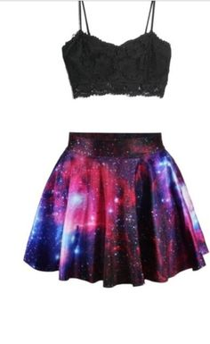 There are 3 tips to buy skirt, galaxy skirt, skater skirt, galaxy print. Girls Fashion Clothes, Teen Fashion Outfits, Outfits For Teens, Gothic Fashion, Cute Casual Outfits, Girly Outfits, Galaxy Skirt, Galaxy Outfit, Galaxy Fashion