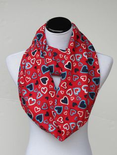 Red hearts scarf Valentines day infinity by HappyScarvesByLesya