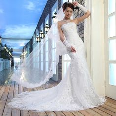 $108 Fishtail trailing princess wedding/ 2013 new Korean wedding dress -ZZKKO