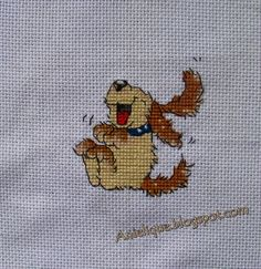 funny dog, cross stitch